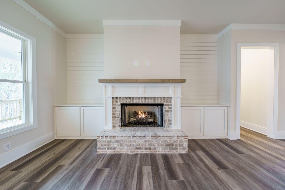 New Homes in Woodridge Estates Canton GA | Living Room Fireplace | Loren Homes
