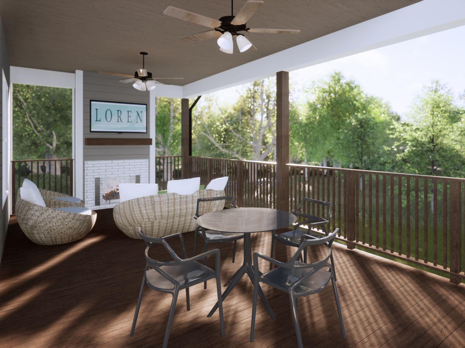 Etowah Covered Porch | Loren Homes | New Homes in Woodridge Estates Woodstock GA