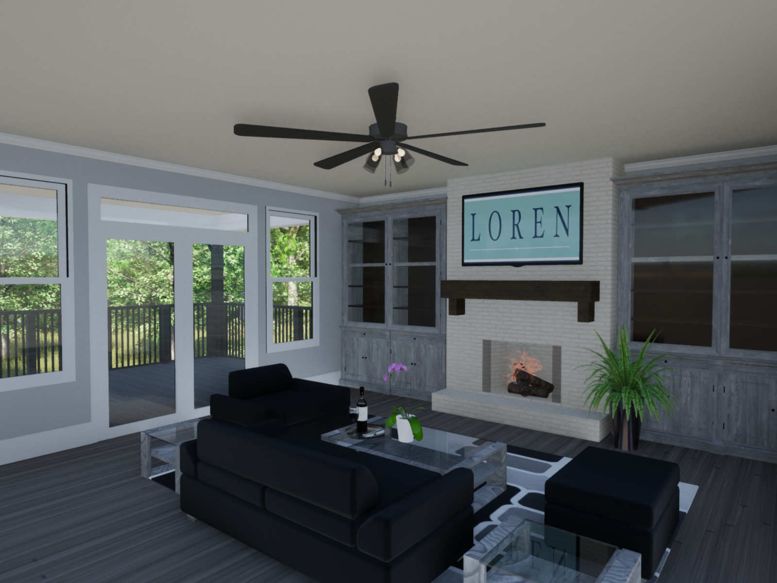 Emerson Floorplan Great Room | Loren Homes | New Homes in Great Sky Canton GA