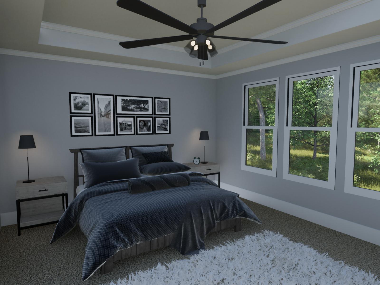 Emerson Floorplan Owners Bedroom | Loren Homes | New Homes in Great Sky Canton GA