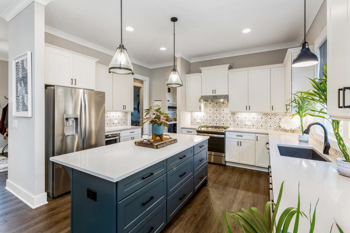 Loren Homes Loren Homes | Navy and White Kitchen Interior | New Homes in Atlanta GA